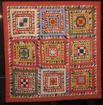 Red and blue Triangle Vintage Quilt